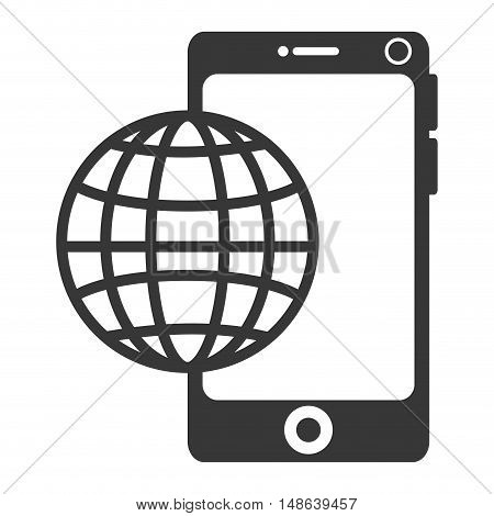 smartphone mobile phone and world sphere network connection. vector illustration