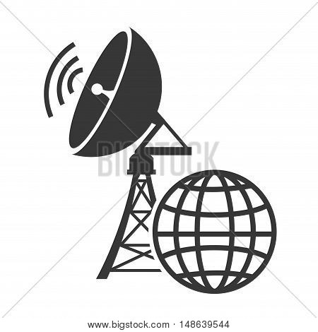 transmitting antenna tower structure with wireless waves and global connection icon. vector illustration