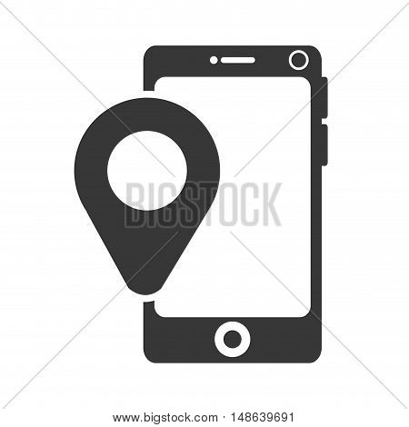 smartphone mobile phone and ubication pointer. navigation and technology device. vector illustration