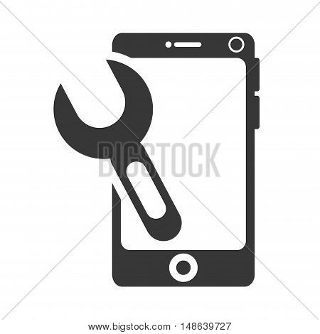 smartphone mobile phone and wrench repair tool. communication and technology device. vector illustration