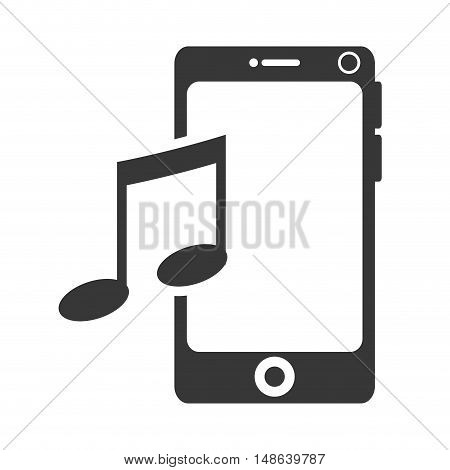 smartphone mobile phone and musical note symbol. music and technology device. vector illustration
