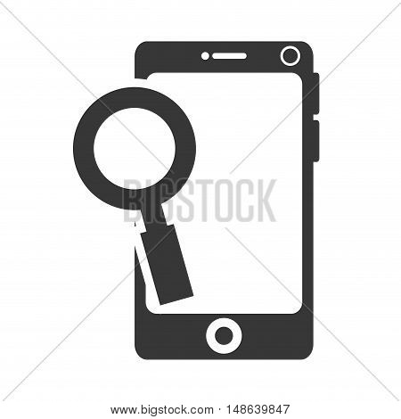 smartphone mobile phone and magnifying glass icon. communication and technology device. vector illustration