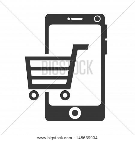 smartphone mobile phone and shopping cart. ecommerce and technology device. vector illustration