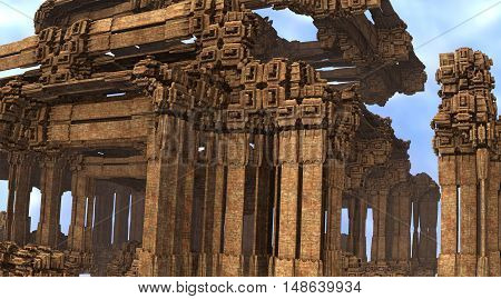 3D illustration fragment of virtual ancient architecture against the blue