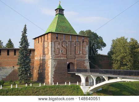 View of the old St. Nicholas tower of the Nizhny Novgorod Kremlin on a day in august