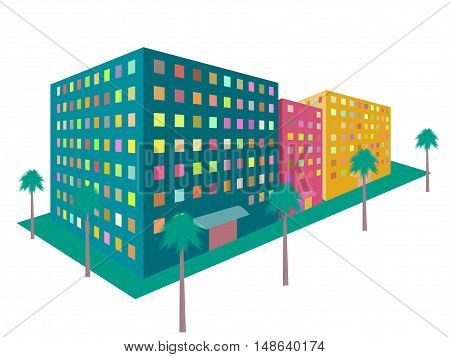Buildings in perspective on a white background. The outline of the houses the city in 3D. Colored houses in the style of 80's. Vector illustration.