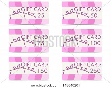 Gift card with a gift box. The values of cards 25 50 75 100 150 250. Set of vector illustrations.