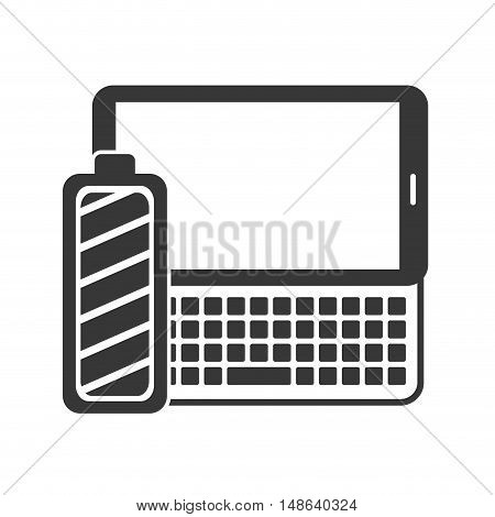 tablet and keyboard portable technology devices with power battery icon. vector illustration