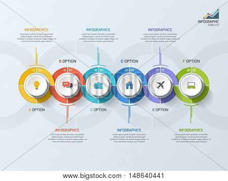 Timeline Business Infographic Template With 6 Steps, Processes, Parts, Options. Vector Illustration.