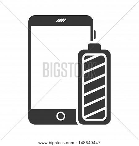 smartphone mobile phone with full power battery icon. communication and technology device. vector illustration
