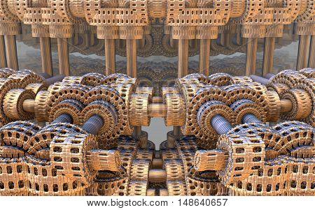 3D illustration of virtual metalic textured steampunk