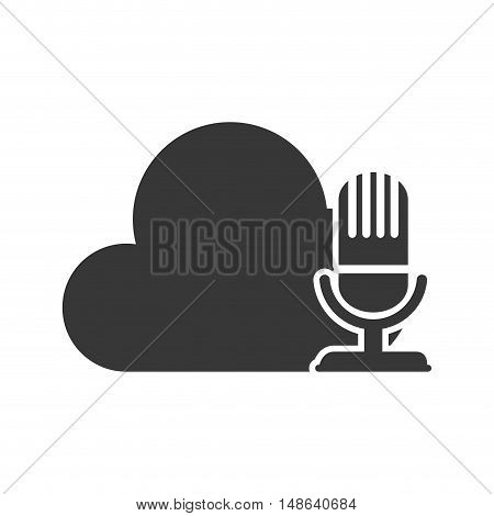 cloud data storage with retro microphone device. technology and electronic media files. vector illustration