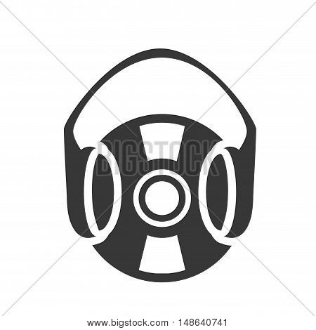 retro vinyl long play disc with headset symbol. vector illustration