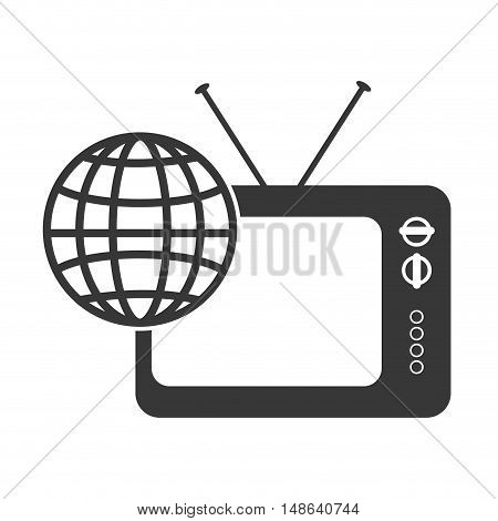 retro television entertainment device with global connection icon. vector illustration