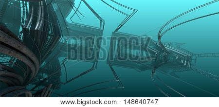 3D illustration of virtual undersea scene with sunken futuristic spaceship