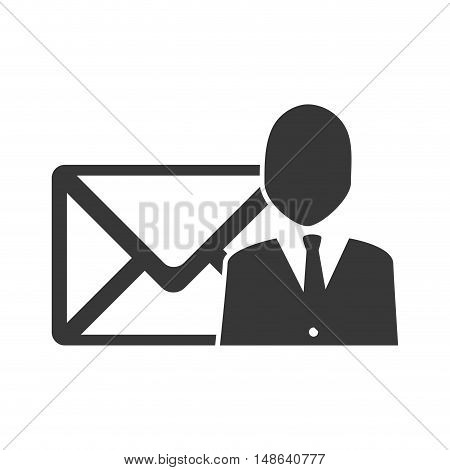 envelope mail message letter with executive business man  icon. vector illustration