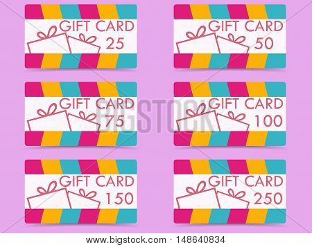 Gift Card With A Gift Box. The Values Of Cards 25, 50, 75, 100, 150, 250. Set Of Vector Illustration