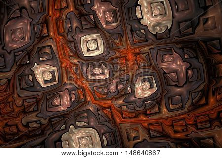 Abstract shining puzzles on black background. Fractal design in dark grey white red and brown colors.