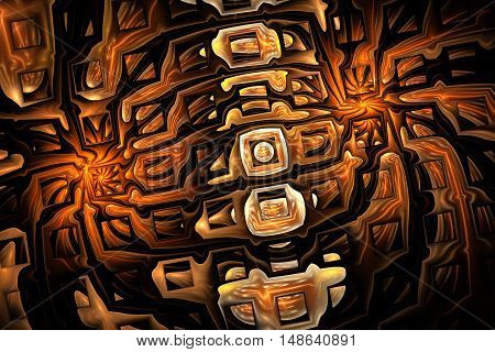 Abstract shining mosaic. Fantasy fractal ornament in orange yellow brown and black colors.