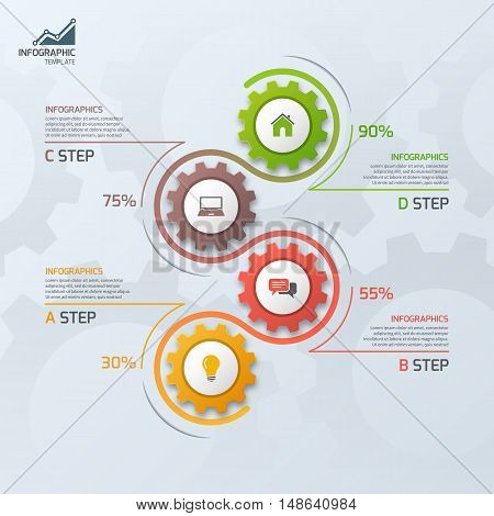 Timeline Business Infographic Template With Gears Cogwheels 4 Steps, Processes, Parts, Options. Vect