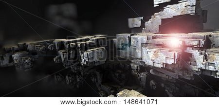 3D illustration of virtual cosmic scene with flying spaceship