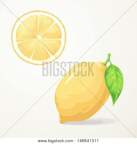 Fresh lemon with leave Slice of Lemon