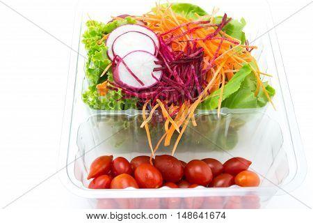 close up of fresh mixed vegetables salad