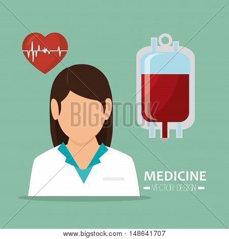 avatar woman medical assitance with blood bag and pulse heart medicine icon. colorful design. vector illustration