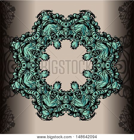 Vector illustration with vintage round ornament. Circle lace ornament round ornamental geometric doily pattern