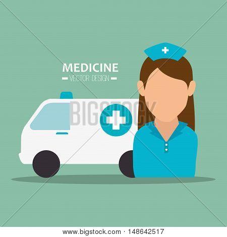 avatar woman nurse medical assistance with emergency ambulance vehicle. medicine symbols. colorful design vector illustration