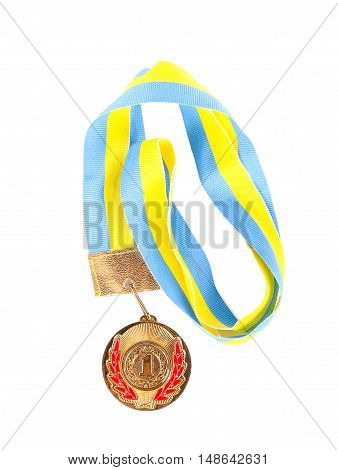 First place medal over white background top view