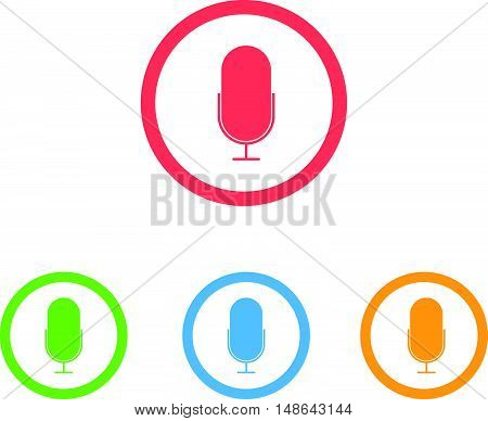 Colorful Set of Microphone or Pod Cast Icons