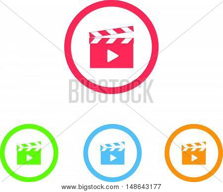 Colorful Set of Movie Clapper Ring Icons