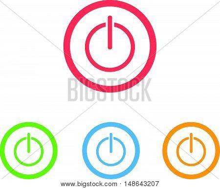 Colorful Set of Power Button Rings Icons