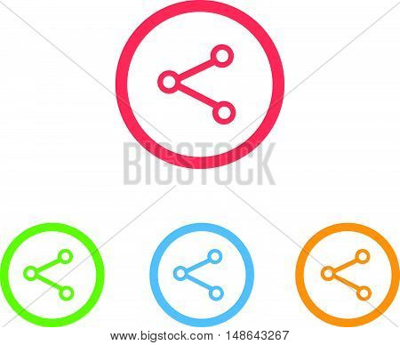 Colorful Set of Share or Network Icons