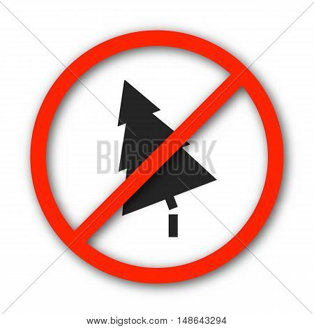 Round prohibition sign banning deforestation isolated on a white background vector illustration.