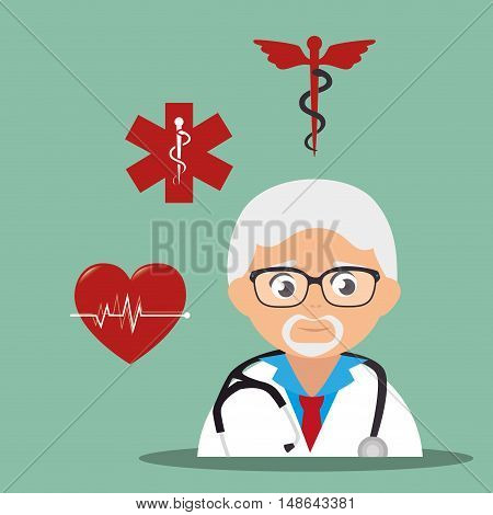 avatar old man medical assistance with medicine icon set. colorful design. vector illustration