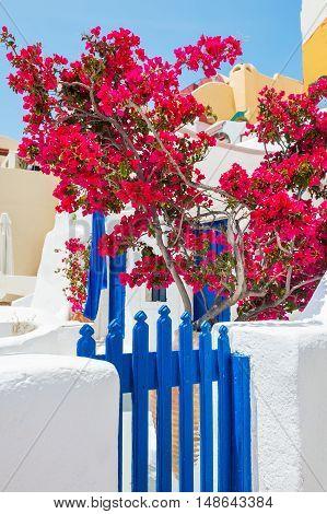 White-blue Architecture On Santorini Island, Greece