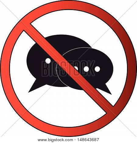 No Chatting or Messaging or Talking Prohibited Icon