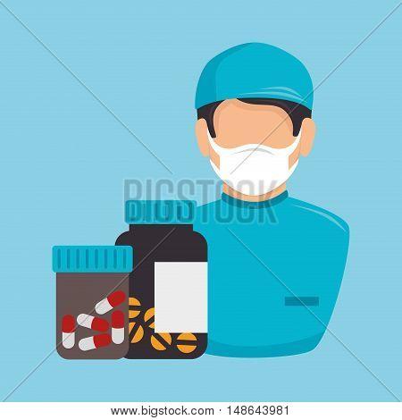 avatar nurse man medical  assistance with bottle pills medicine icon. colorful design. vector illustration