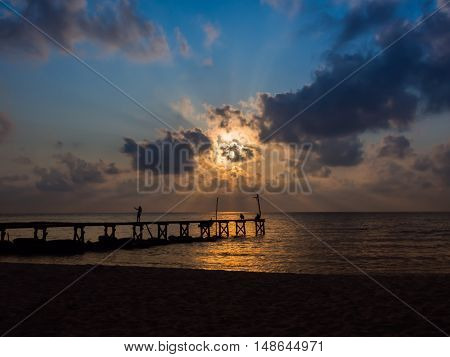 Wooded Bridge To The Sea Between Sunset