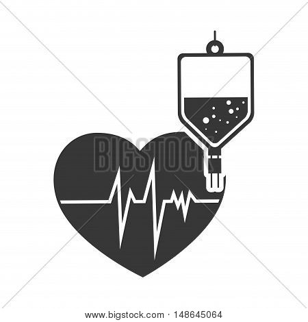 cardio pulse heart with iv bag. medicine icon.vector illustration
