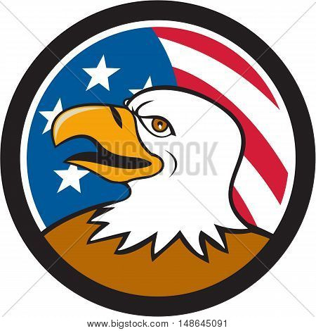Illustration of an american bald eagle head smiling viewed from the side with usa american stars and stripes flag in the background set inside circle done in cartoon style.