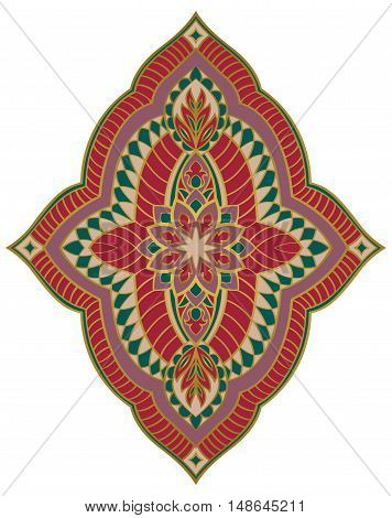 Oriental abstract ornament. Templates for carpet wallpaper textile and any surface. Vector pattern of gold contours. Design element.