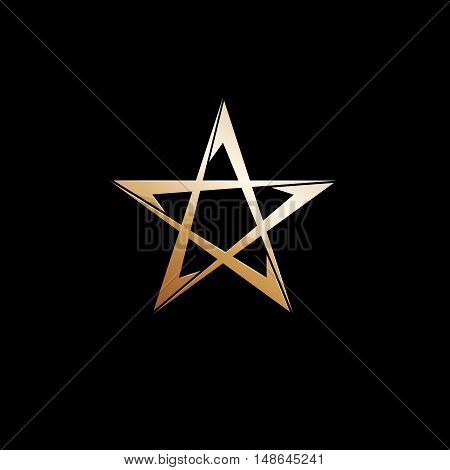 Vector sign golden star on black background