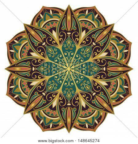 Oriental mandala. Vector rich filigree pattern. Template for textile carpet shawl. Design element.