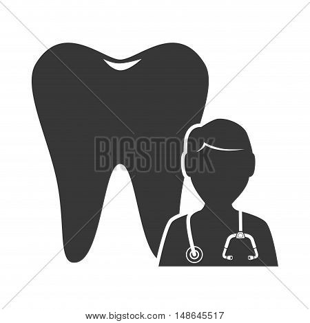 oral tooth with medical man doctor. medicine icon. vector illustration