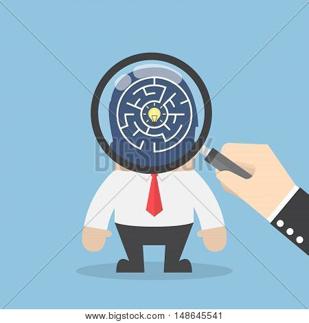 Hand Use Magnifying Glass To Search Idea In Businessman Head