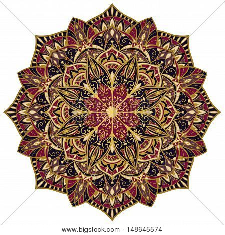 Vector bright mandala with a gold contour. Oriental colorful ornament. Template for design embroidery textiles shawls carpets wallpapers.