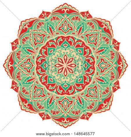 Green and orange mandala. Vector round pattern. Oriental ornament on a white background. Design element.